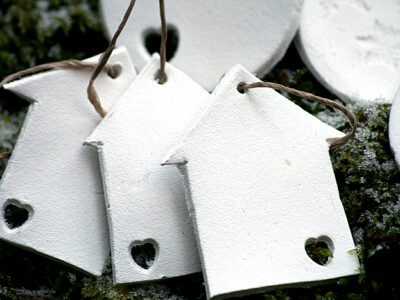 Christmas ornaments in white clay