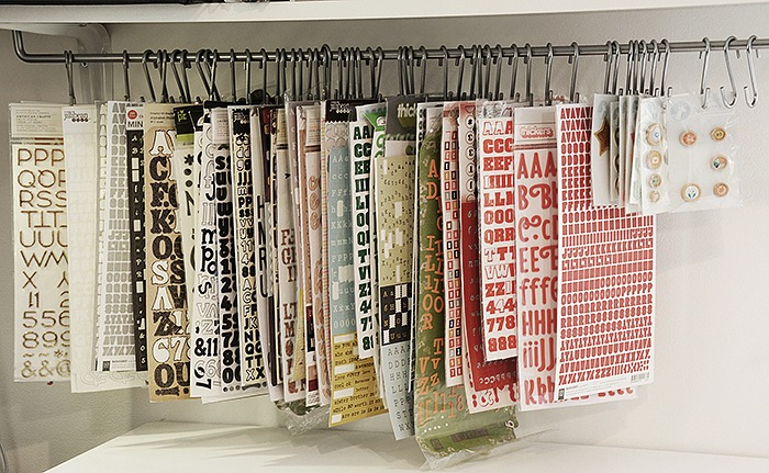 Craftroom, stickers storage