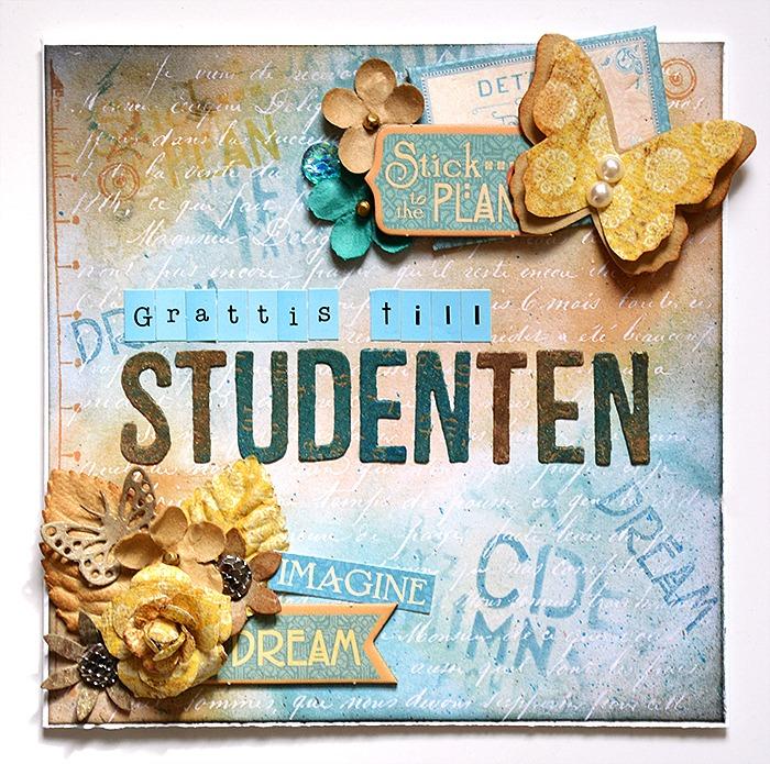 Studentkort med Tim Holtz Paper Stash Resist