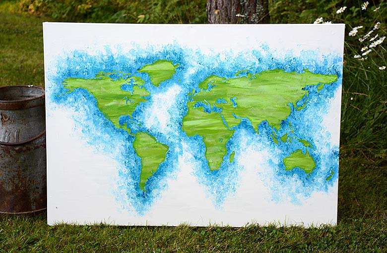 World map on canvas