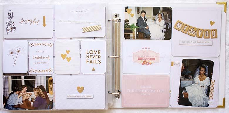 Rosa och guld i bröllopsalbumet