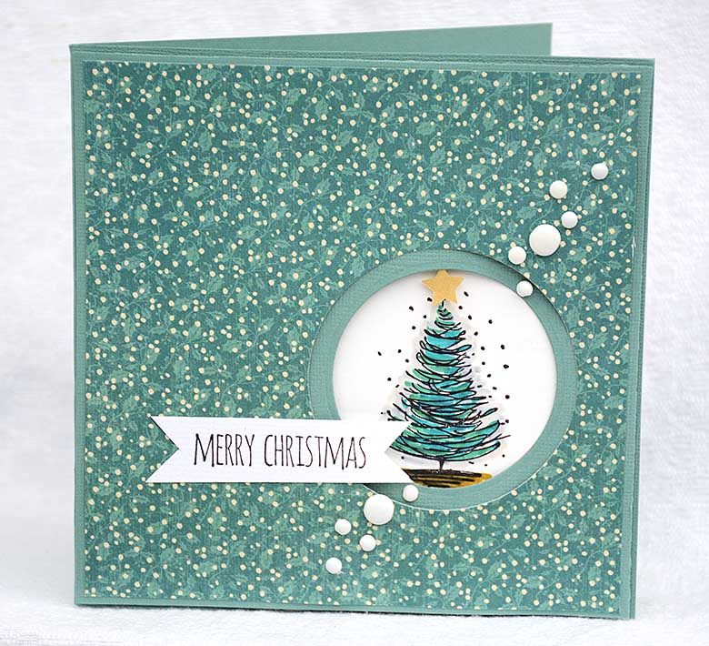 Chistmas card with Tim Holtz Cling Rubber Stamp Set 7x8,5 - Scribble Christmas