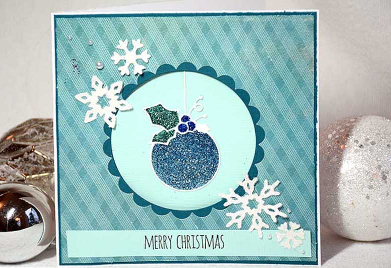 Christmas card in blue with Memory Box Dies - Cabrini Ornament by HelenTh