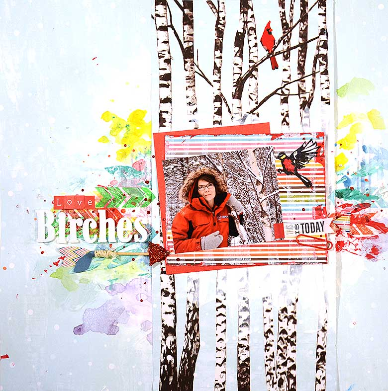 Love Birches, scrapbooking layout by HelenTh