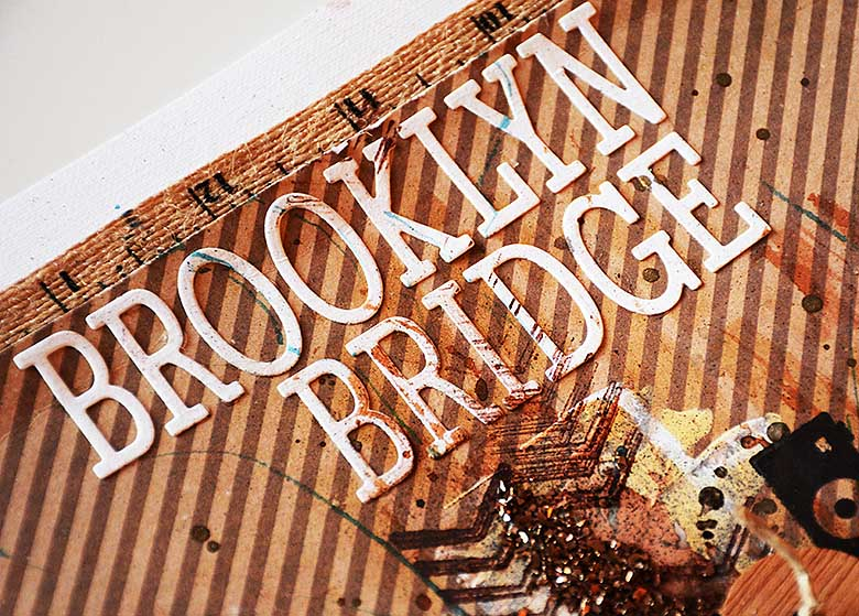 "Titel ""Brooklyn Bridge"" made with Sizzix Thinlits Die Set 79PK - Just a Note Alphabe by HelenTh"