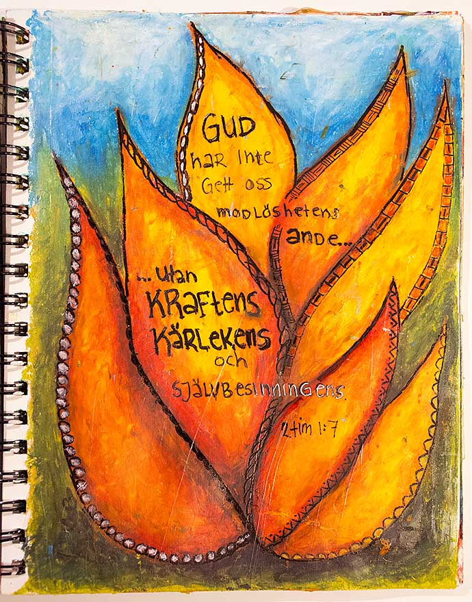 Art journal page with oil pastel - by Helens Color Life