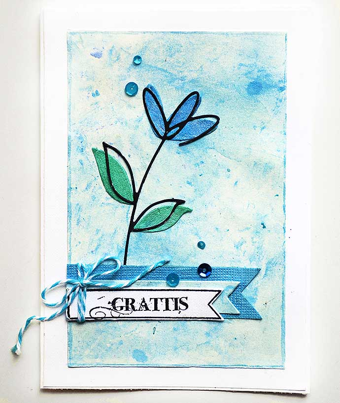 Card . blue flower - by Helens Color Life - kort v19