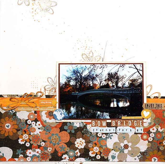 Scrapbooking layout - Bow Bridge - by Helsn Color Life