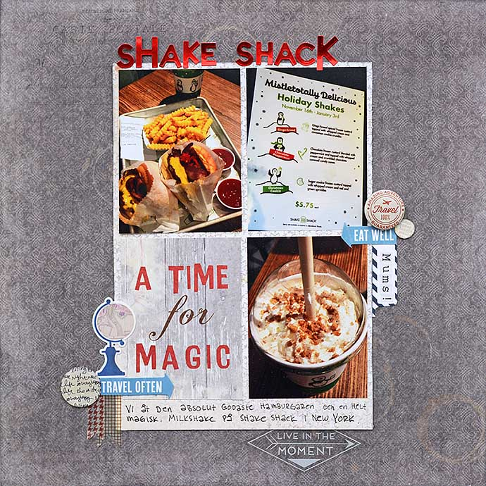 Shake Shack scrapbooking layout by Helens Color Life