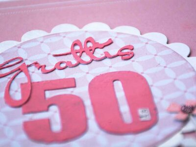 Pink 50th annual card