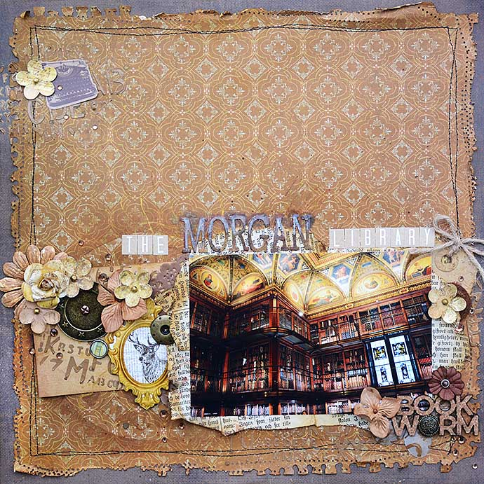 Morgan Library, scrapbooking layout by Helens Color Life