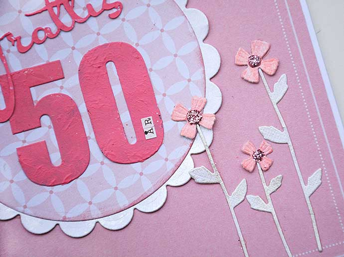 Pink card with Memory Box Dies by Helens Color Life