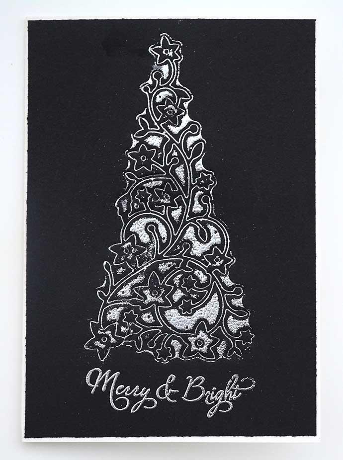 kort med embossad julgran av Helens Color Life