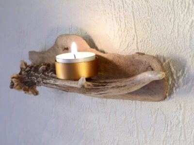 Candle holder of a Reindeer antler and driftwood