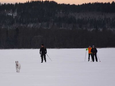 Skidskoåkning på sjön