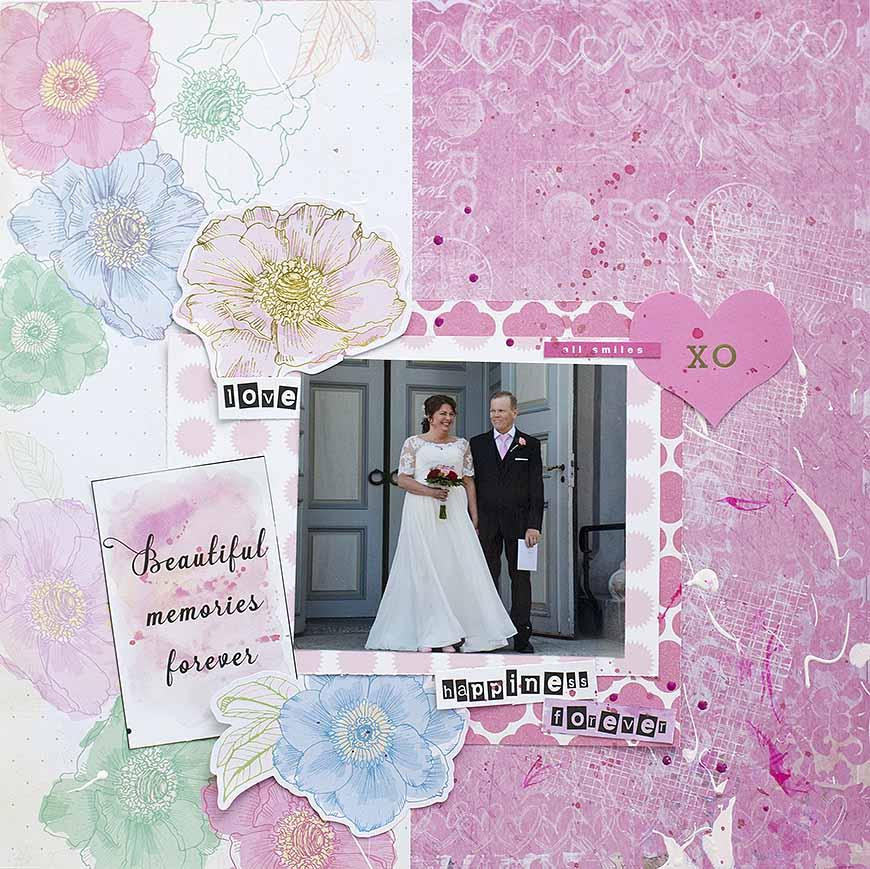 Happiness forever, layout från ett bröllop av Helens Color Life