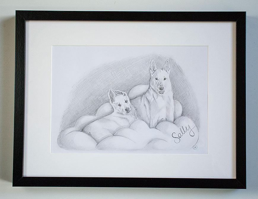 Teckning av Sally, ett fint minne från en av våra valpköpare