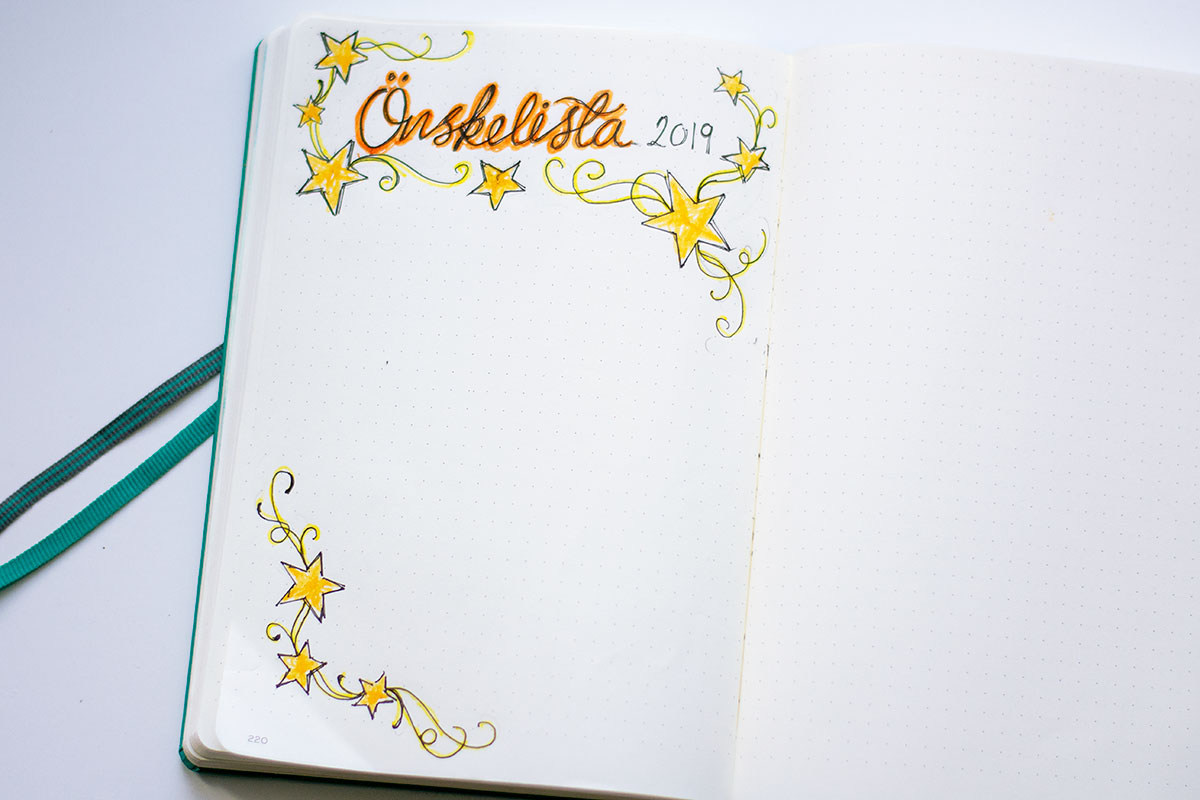 Wishlist in my Bullet Journal
