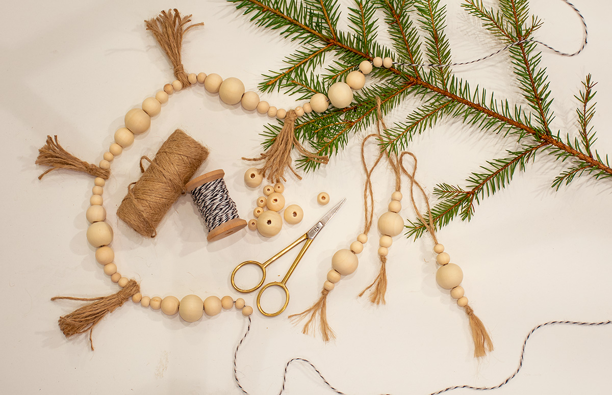 Craft with wooden beads and thread