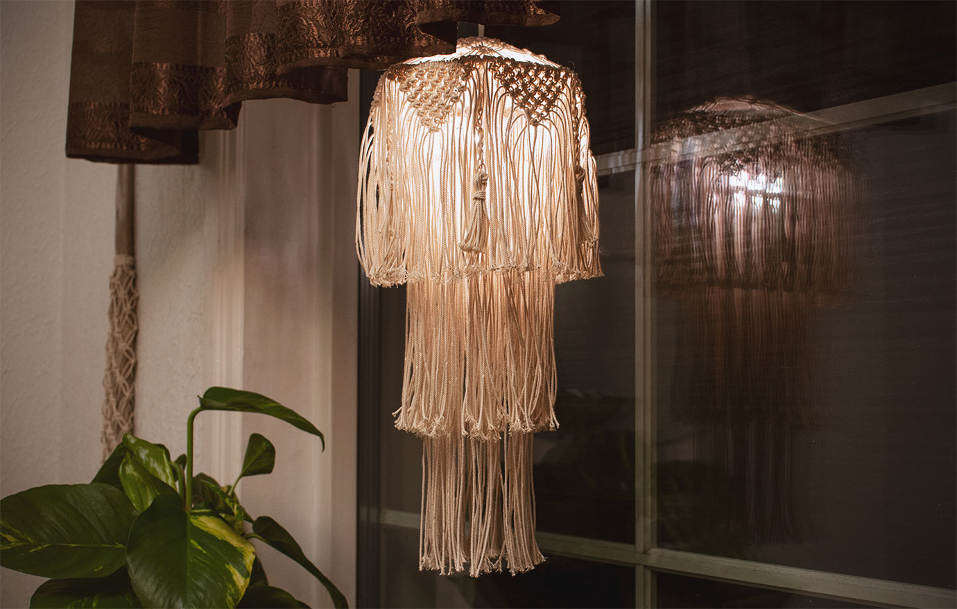 My first handmade macrame lampshade